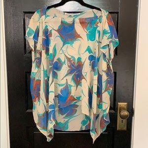 Rachel Roy- floral hi-lo blouse